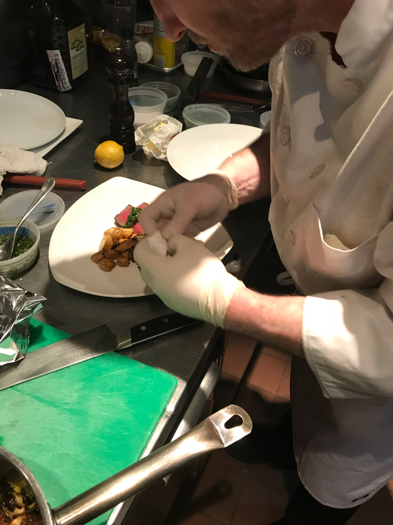 Plating NY Strip with Gremolata